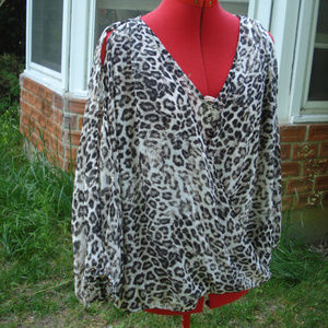 Cold shoulder / Open sleeve Leopard Animal print